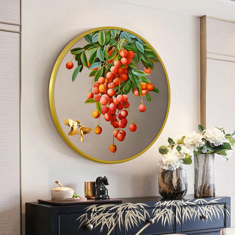 荔枝現代新中式玄關裝飾畫 客廳辦公室圓形掛畫 餐廳手繪壁畫油畫