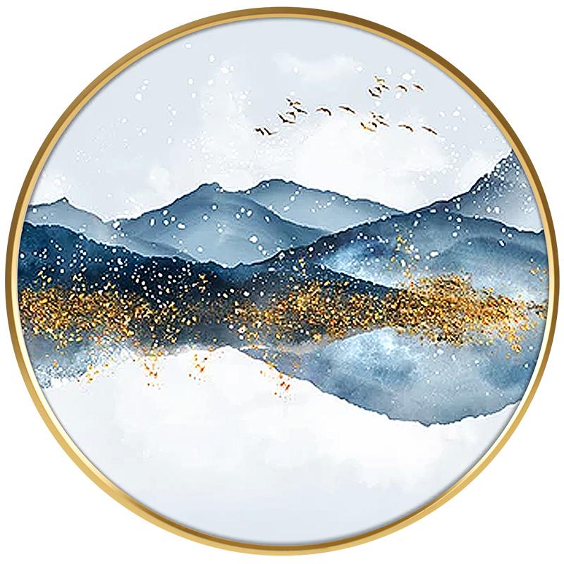 新中式手绘油画玄关装饰画客厅办公室圆形抽象山水挂画书房卧室