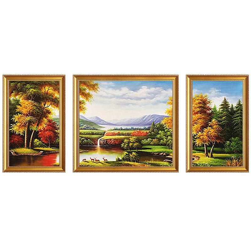 欧式客厅装饰画 沙发背景墙三联风景山水油画 发财鹿聚宝盆挂画