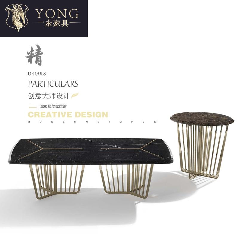 轻奢美式餐桌椅组合餐厅现代简约大理石圆形餐桌长方形餐台