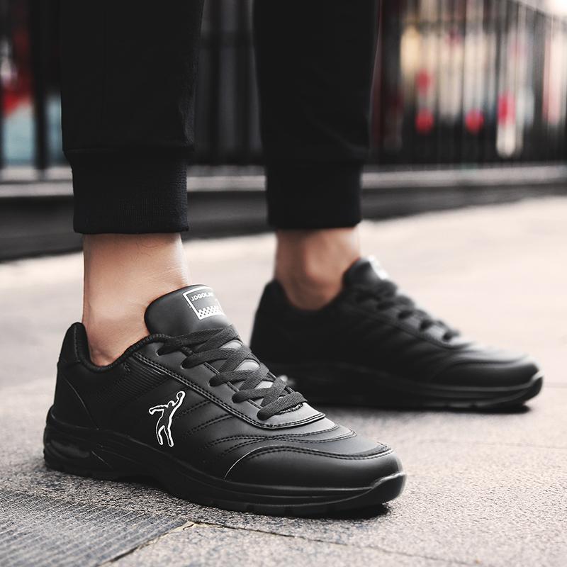 乔丹格兰男鞋黑底黑面皮面运动鞋男防水减震气垫休闲跑鞋经典鞋