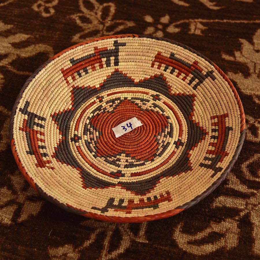 阿富汗手工编织北欧风格草编杂物钥匙零钱盘子 美式英伦装饰挂盘