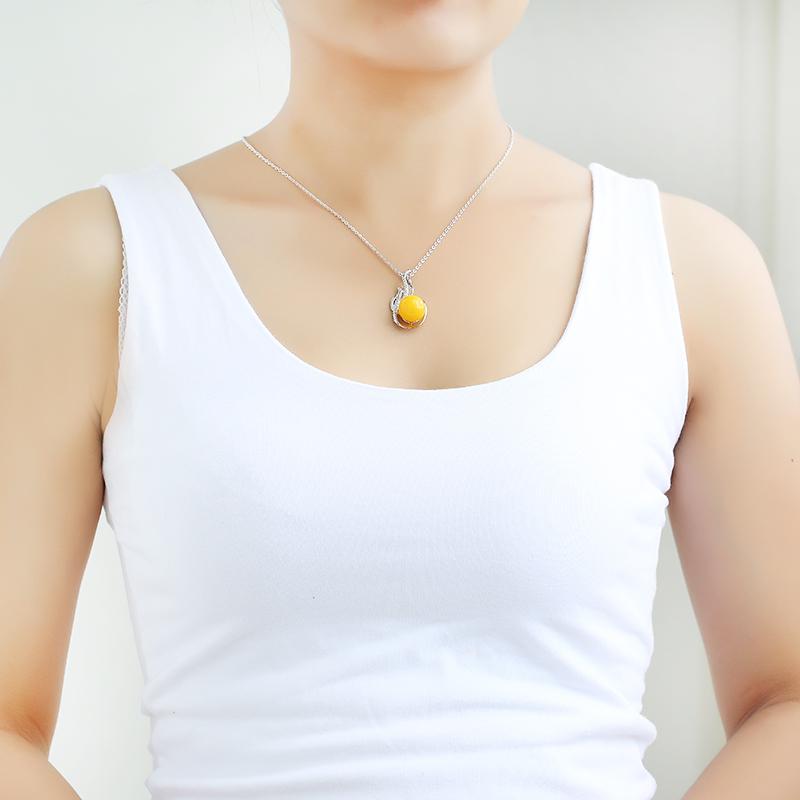 蜜蜡凤凰镶嵌款吊坠 血珀女款锁骨链 老蜜鸡油黄项链银色圆珠挂件