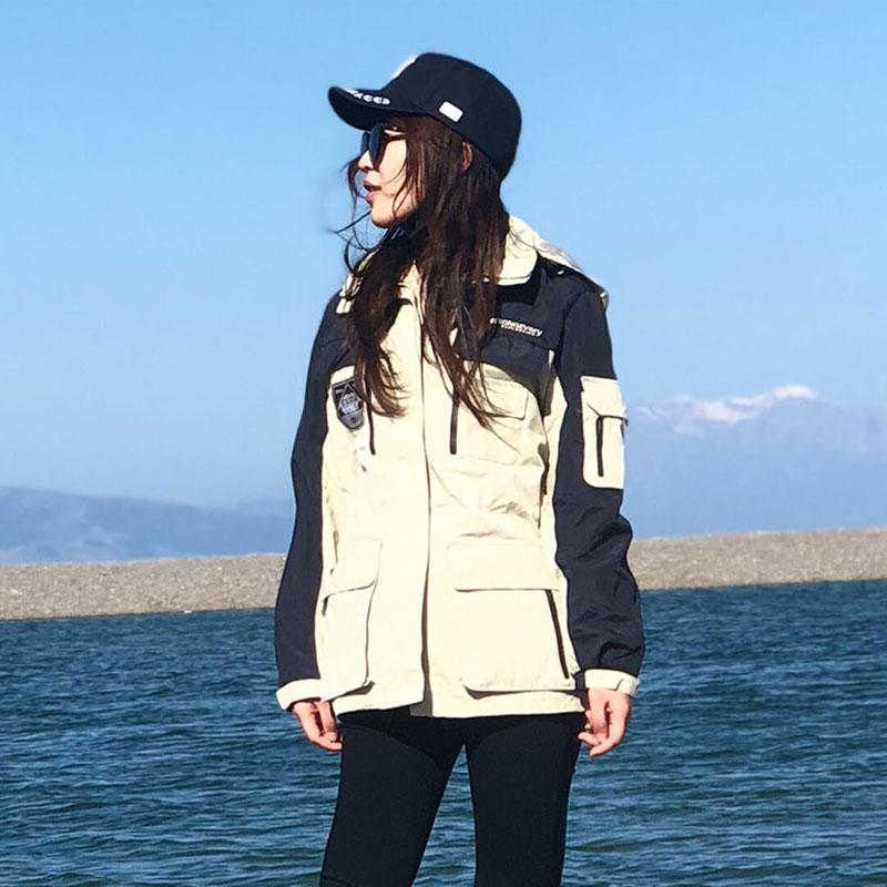 冲锋衣女潮牌中长款三合一两件套情侣外套滑雪服防风保暖登山服男