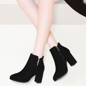 短靴高跟2019新款秋冬季秋季百搭女鞋子加绒瘦瘦粗跟马丁靴女靴子