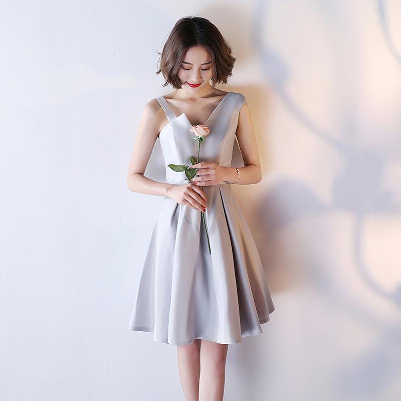 2019秋季新款伴娘服短款银灰色宴会晚礼服女伴娘团修身姐妹裙中式
