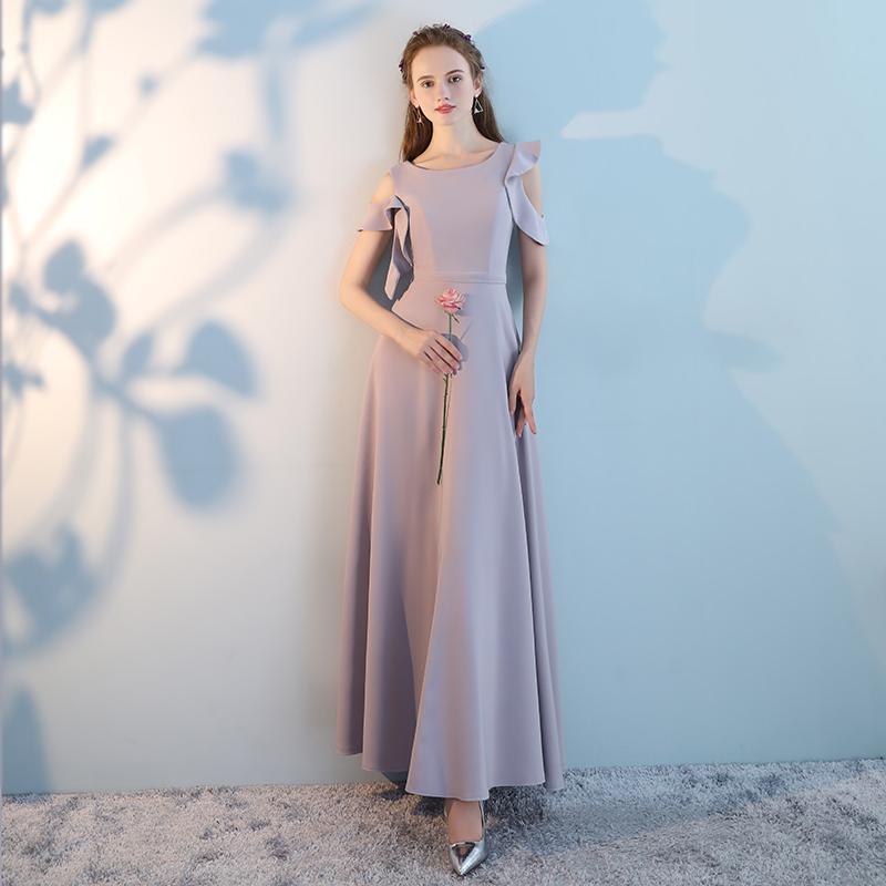 伴娘服2019新款长款修身伴娘团姐妹裙灰色显瘦连衣裙宴会晚礼服女