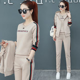 Summer short-sleeved trousers sports suit female casual three-piece suit XL cotton sportswear sweater two-piece spring