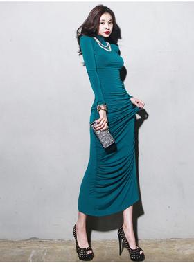 长款修身连衣裙长裙收腰针织女长袖高领紧身秋冬显瘦名媛包臀气质
