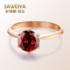 SAWEIYA Ruby Garnet Ring 9K18K Rose Gold Wedding Gift Simple Female Ring