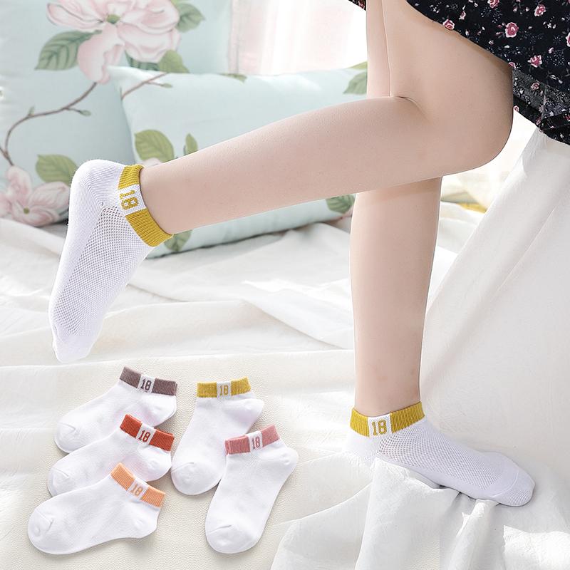 女童袜子纯棉薄款春夏季短袜女孩夏天网眼超薄白色宝宝儿童船袜女
