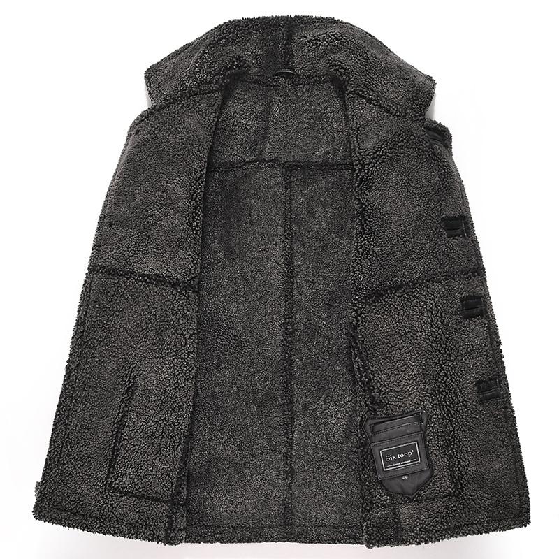 冬季男装加厚皮草大衣外套翻领真皮皮衣男式皮毛一体男皮衣中长款