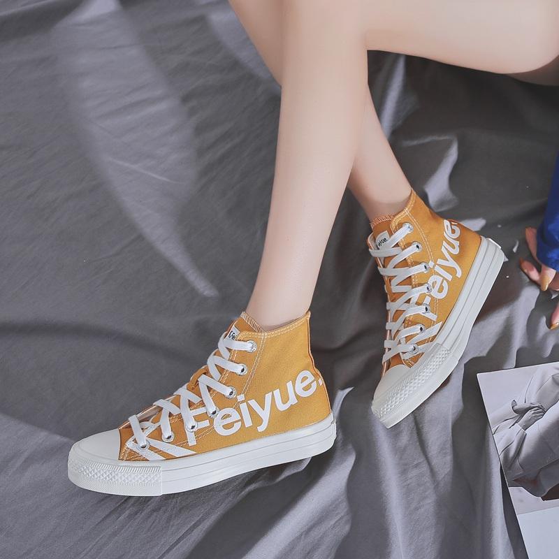 网红字母帆布鞋 ins 飞跃高帮鞋新款韩版学生鞋男鞋女鞋平底 feiyue