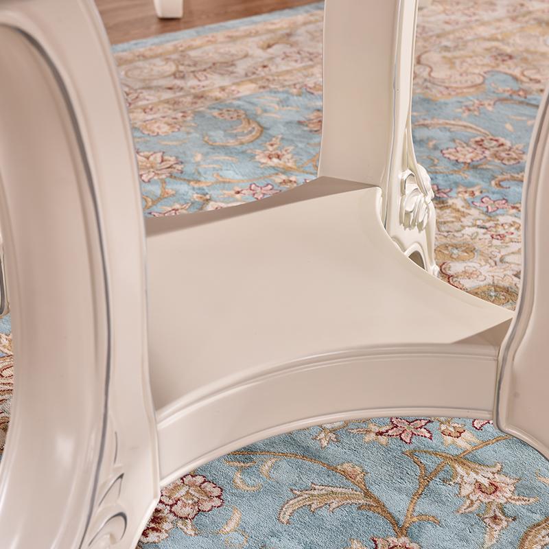 福尊 天然大理石餐桌圆桌圆形欧式实木餐桌椅组合6人台面带转盘