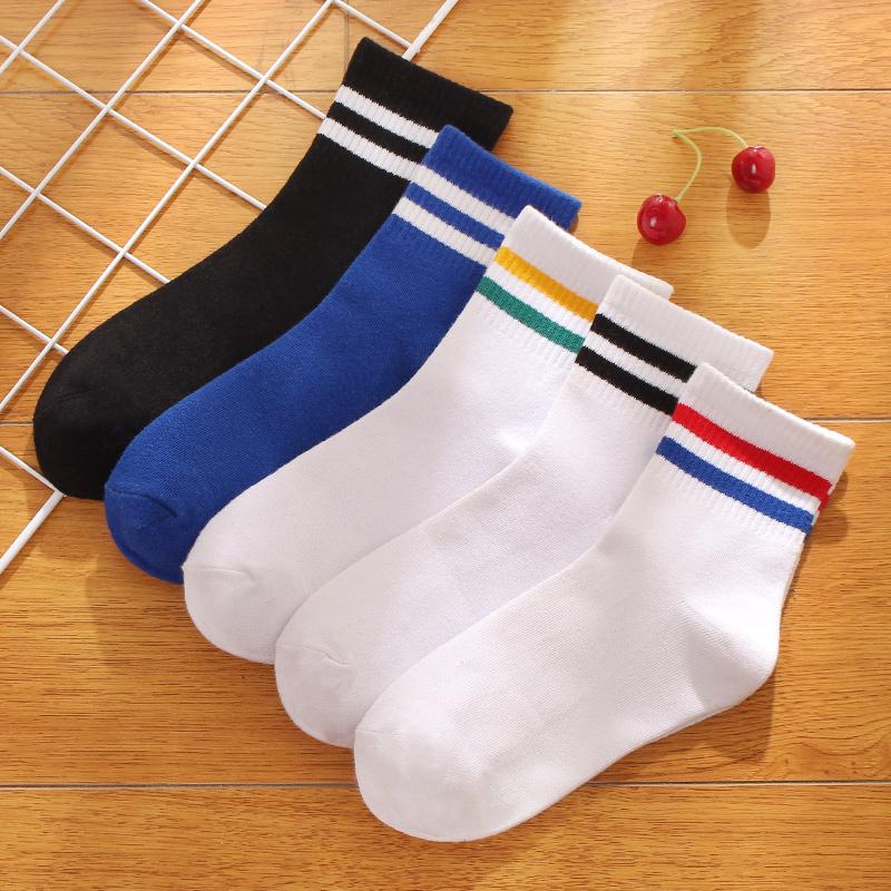 条纹白色二杠袜子男棉袜秋中筒袜