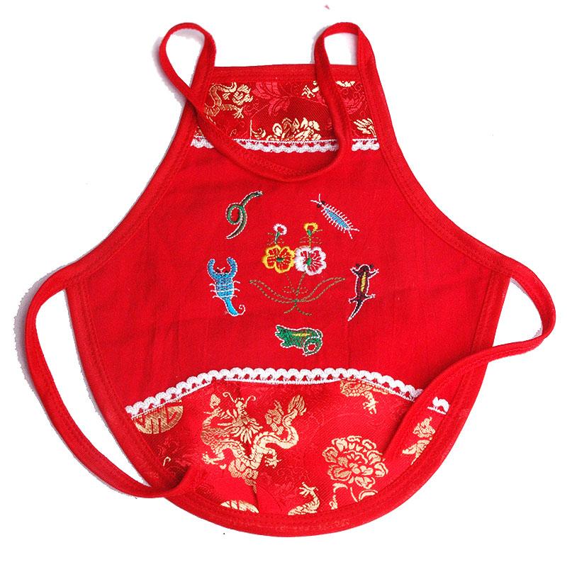 民族风男女儿童夏季装老虎五毒双层透气婴儿肚围护肚大红宝宝肚兜