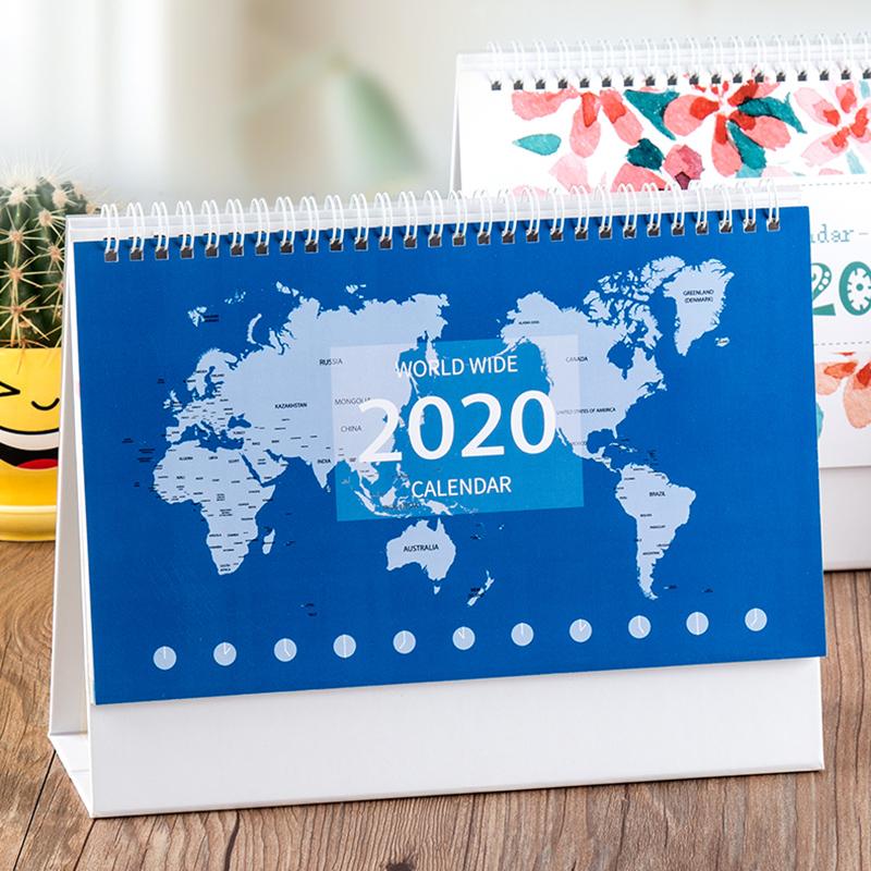 台历2020年创意简约小清新桌面摆件月历定制工作小日历办公桌台历本办公计划本式记事本日历记事台历定做logo