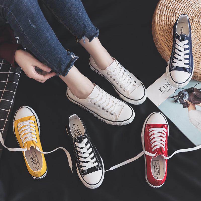 百搭新款帆布鞋女小白布鞋ulzzang板鞋低帮学生女鞋子2020年ins潮