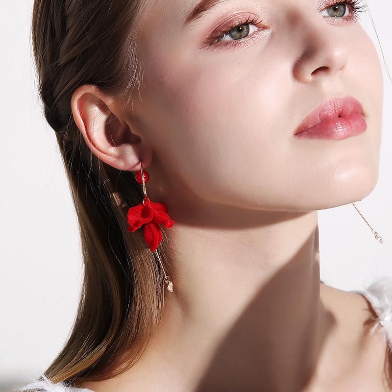 925银针花朵红色耳环2020年新款潮 时尚气质长款网红耳坠女耳饰夏