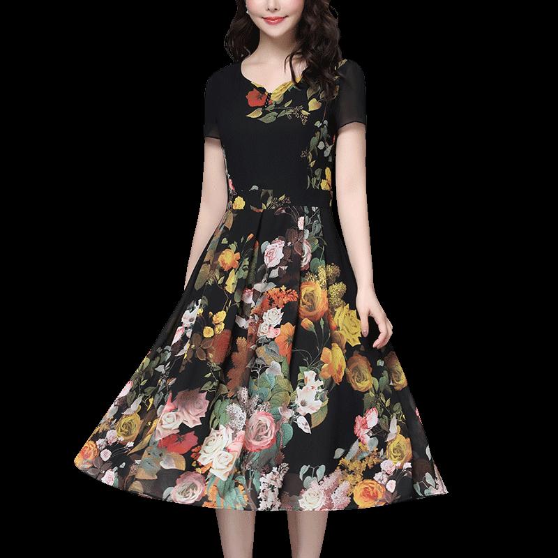 甘夫人妈妈装夏装2019新款连衣裙中老年女阔太太洋气高贵中年裙子