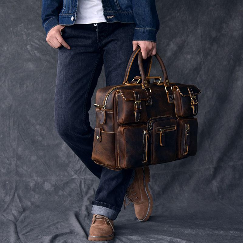 复古欧美手拎疯马皮男士旅行包牛皮大容量单肩行李袋 二十四街