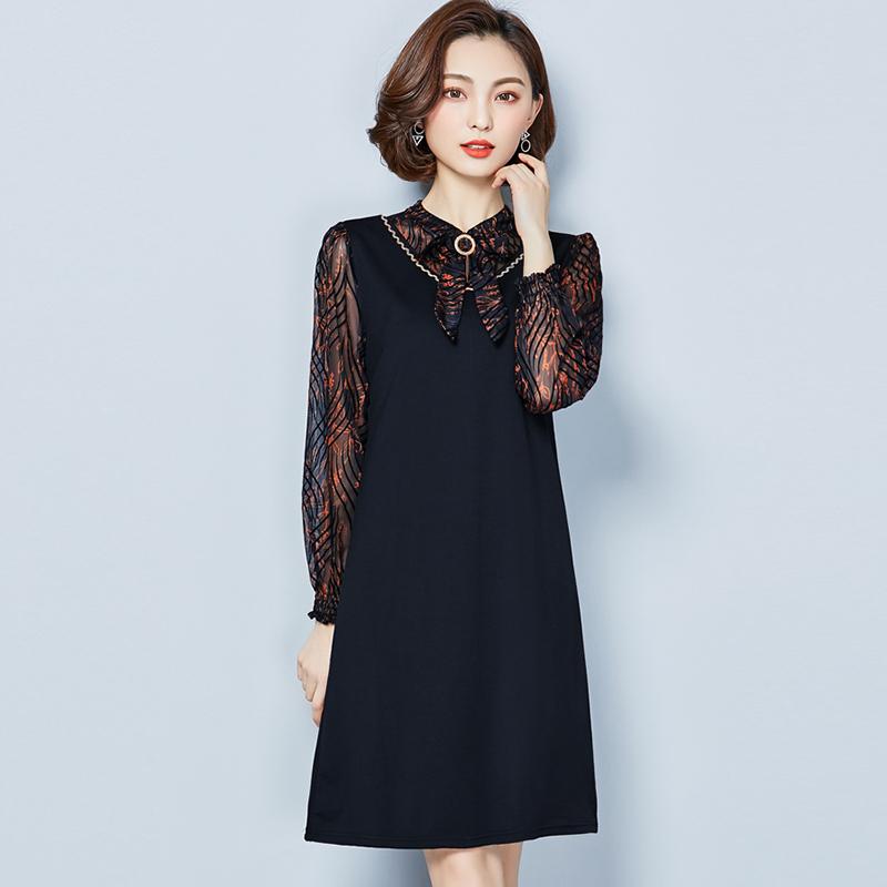 春装新款大码女装时尚减龄修身长袖拼接中长打底裙遮肚显瘦连衣裙