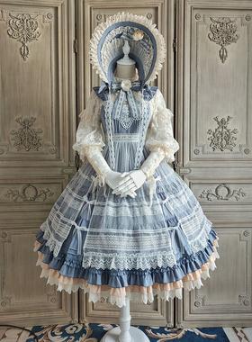 Alice girl原创新款 Lolita山茶花开时cla优雅 jsk连衣裙 含罩纱