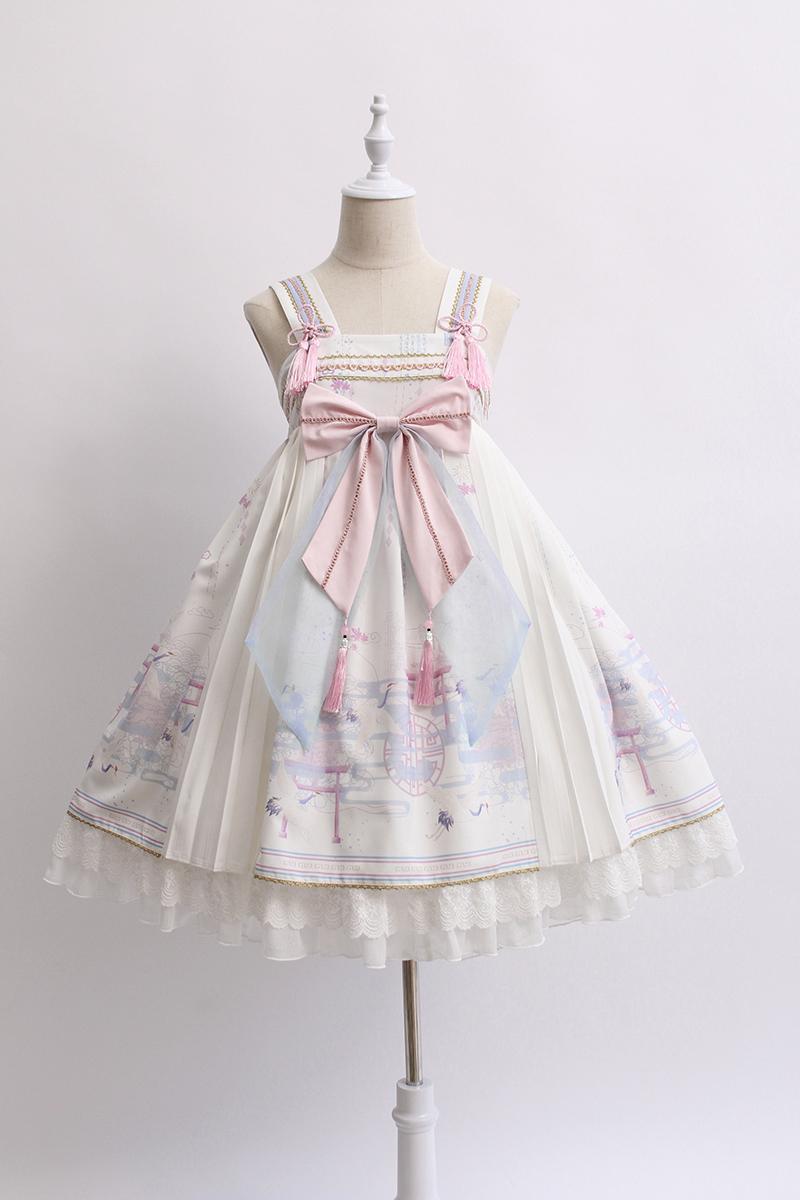 Alice girl原創新款 lolita鶴歸來 高腰吊帶連衣裙