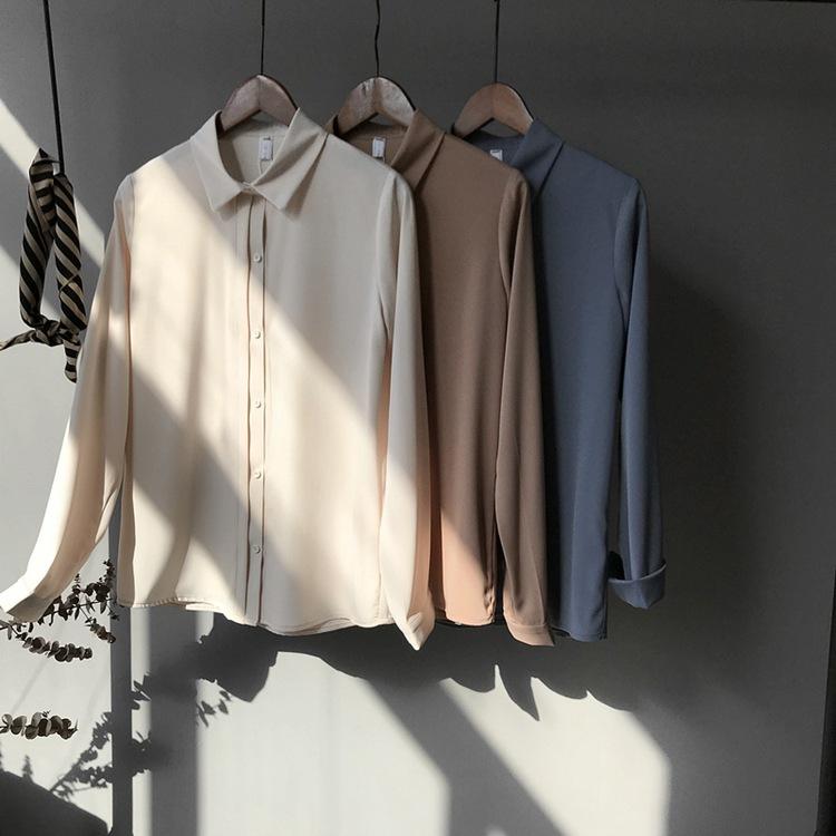2021春秋韩国外贸原单女装纯色百搭港风遮肚子长袖雪纺衫