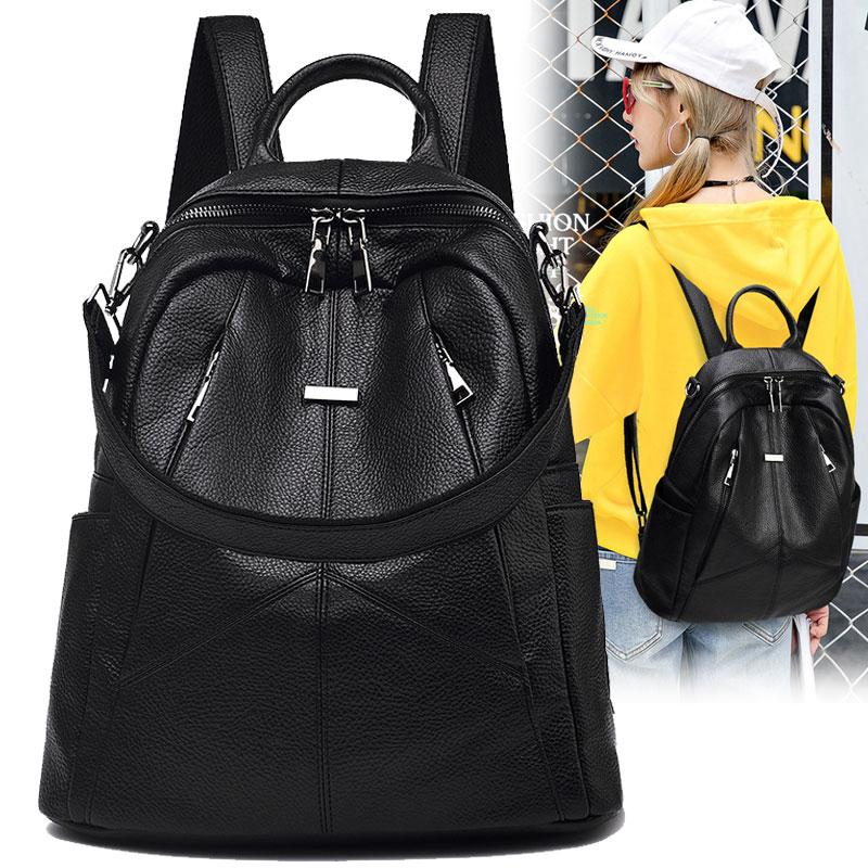 双肩包女韩版2018新款软皮女士旅行背包休闲百搭时尚街头潮流包包