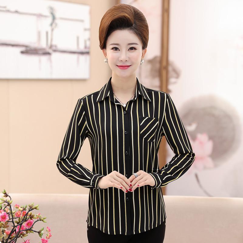 新款秋装条纹时尚妈妈长袖衬衫中年女士衬衣