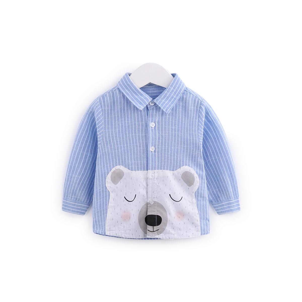 齐齐熊宝宝衬衫长袖男女童衬衣婴幼儿秋装衣服儿童洋气上衣童装