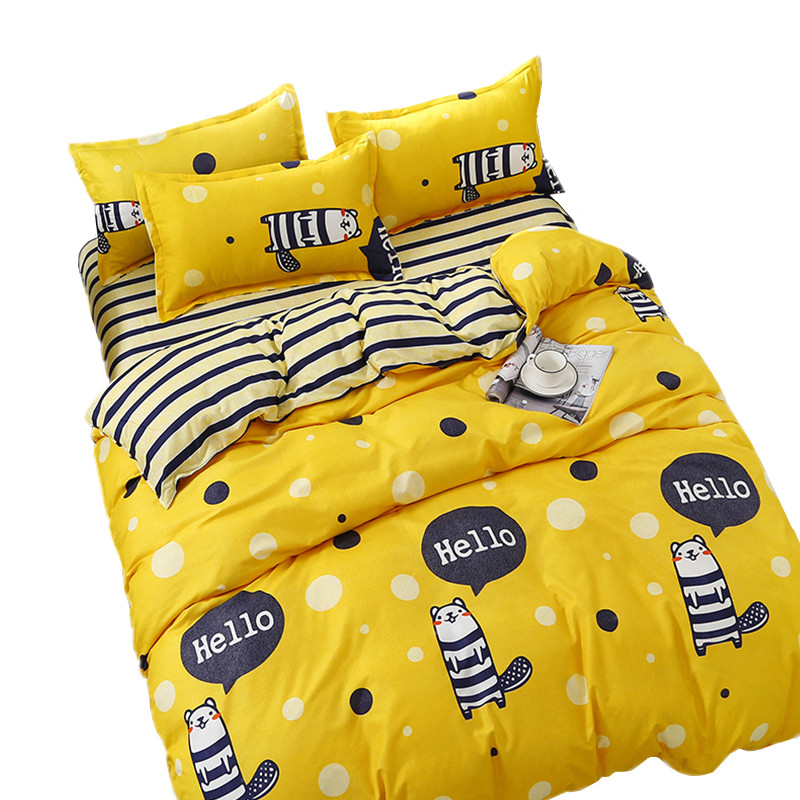 学生宿舍单人床单三件套1.2米纯棉1.5m被单2单件枕套两件全棉被套