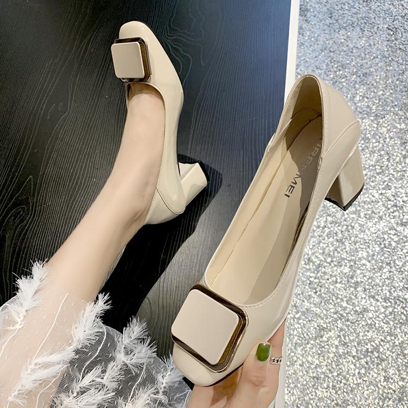 新款网红方头浅口职业女单鞋复古百搭方扣粗跟高跟鞋 2019 两穿女鞋