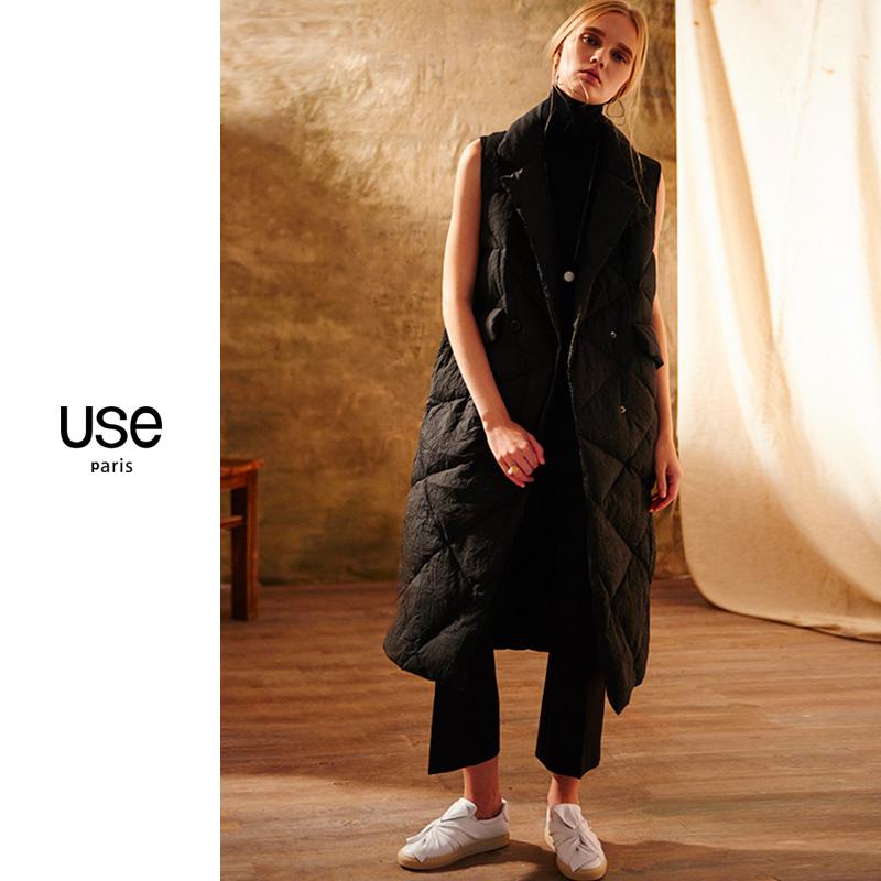 白色鹅绒显瘦薄马夹女USE2019冬装长款羽绒服马甲修身双排扣外套