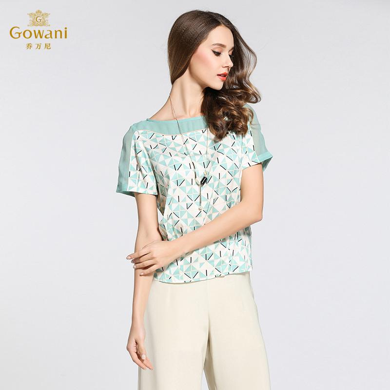 乔万尼桑蚕丝宽松衬衫女装夏季短袖套头上衣女简约时尚真丝衬衣