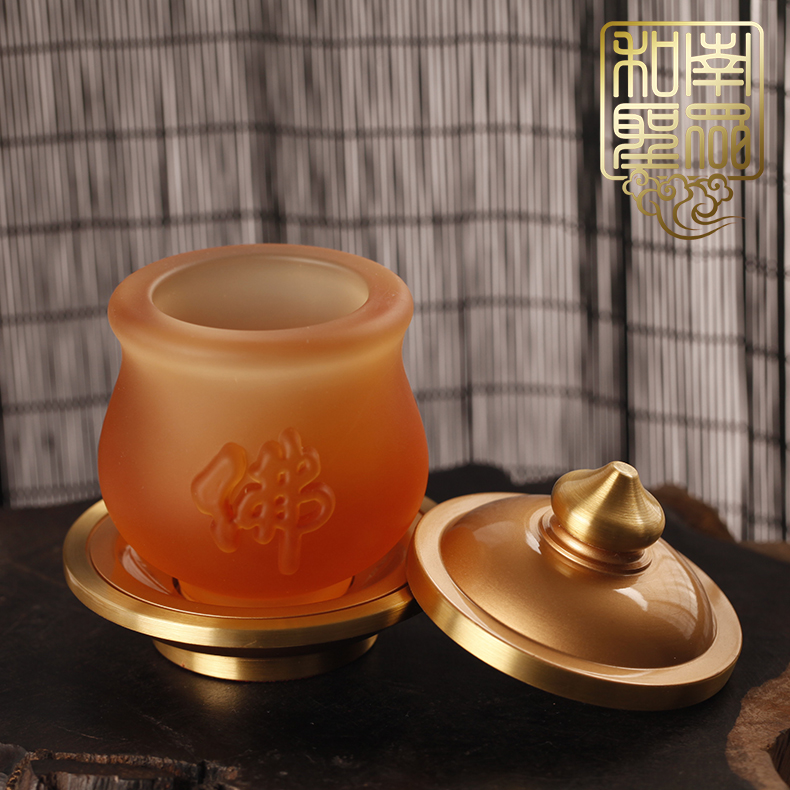 佛教圣物供佛观音莲花杯七宝琉璃供水杯纯铜贡杯佛字大悲圣水杯