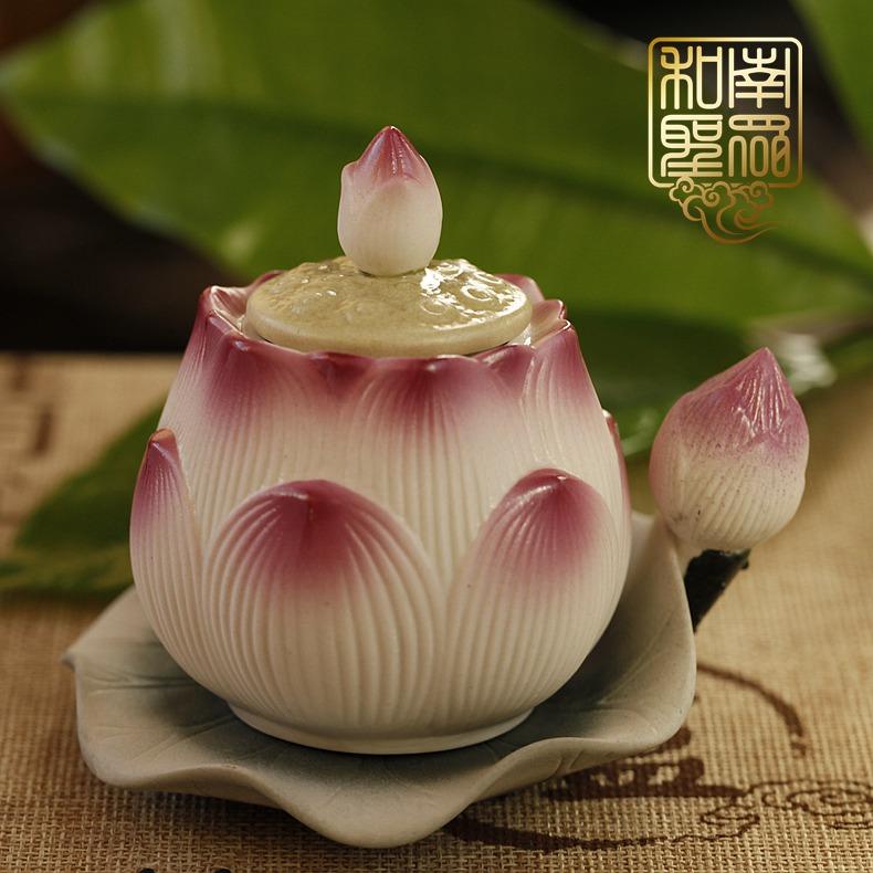 佛堂供杯圣水杯净水杯供佛观音大悲水陶瓷彩绘莲花供水杯贡杯