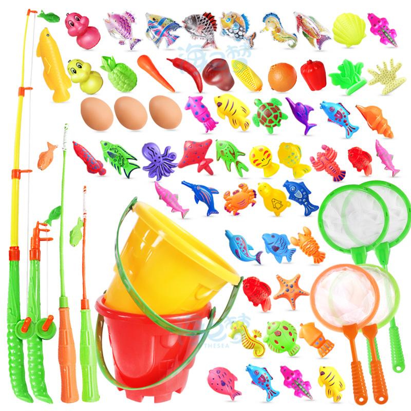 宝宝小孩儿童磁性钓鱼套装戏水塑料益智捞鱼洗澡玩具磁铁钓鱼池水
