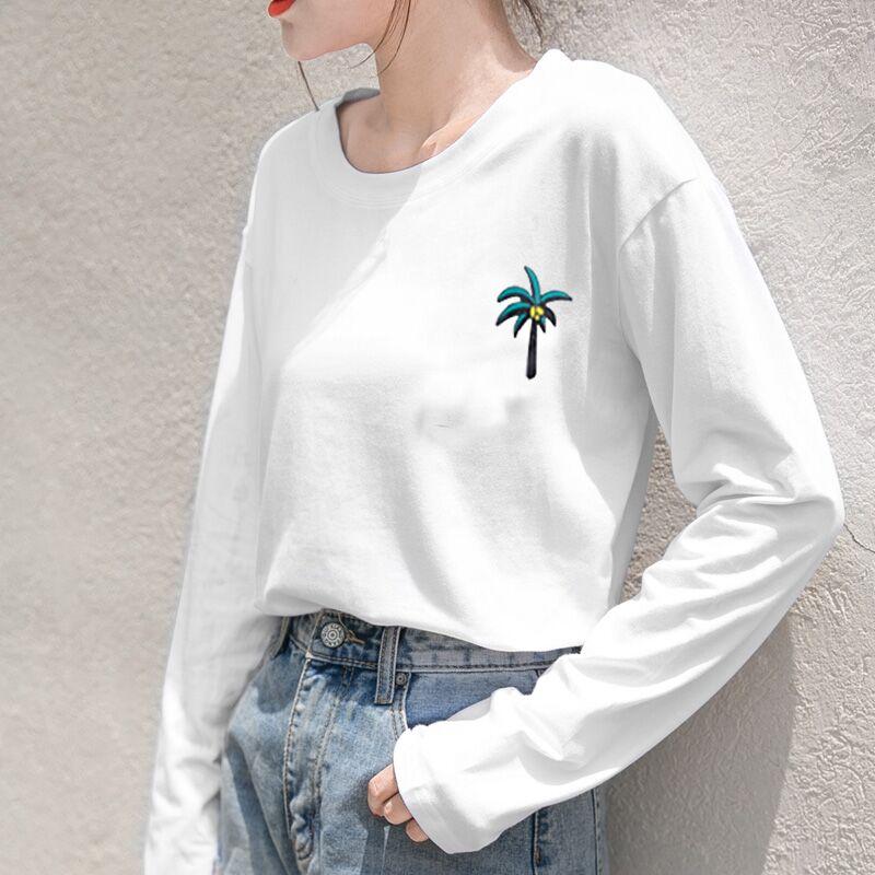 (沫沫momo家定制女装)2018新款韩版长袖ins超火白色t恤女打底衫