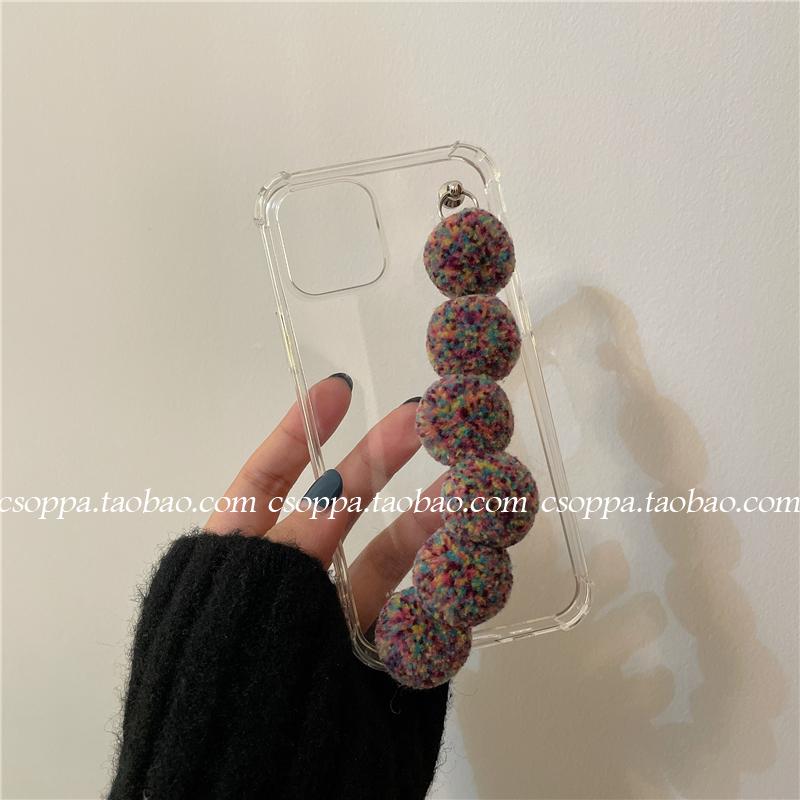 毛球手链适用12pro max苹果11手机壳ipohonex/xs女xr透明7p/8plus - 图2