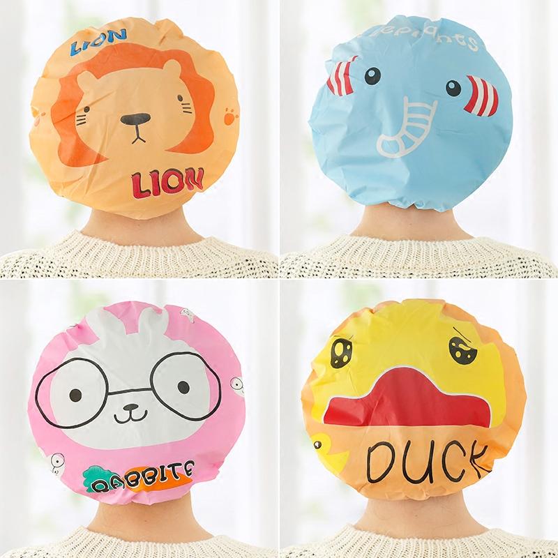 韩国可爱卡通防水浴帽塑料成人女款长发淋浴帽防水洗澡帽子沐浴帽
