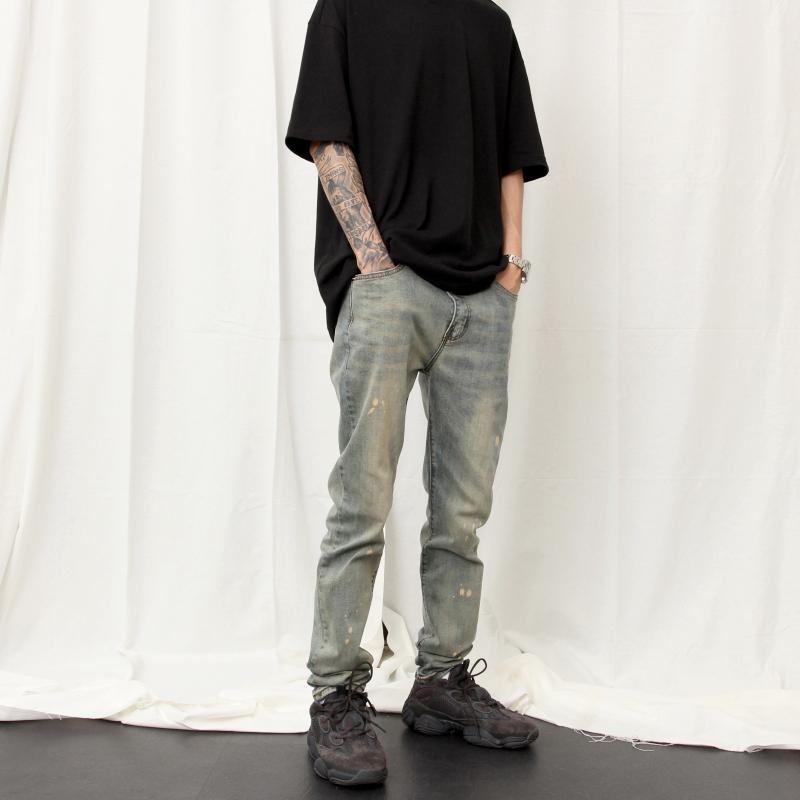 高街风裤子KANYE做旧洗水牛仔裤男 泛黄泼墨弹力小脚牛仔