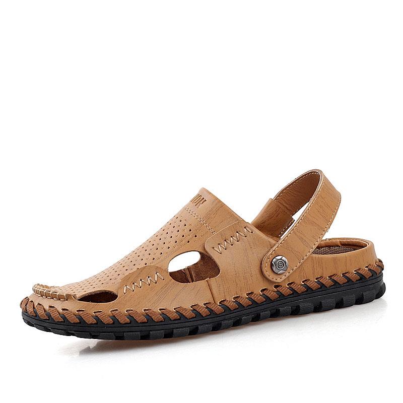 夏季真皮男凉鞋 洞洞鞋 男士凉鞋男凉拖鞋潮休闲包头沙滩鞋凉皮鞋