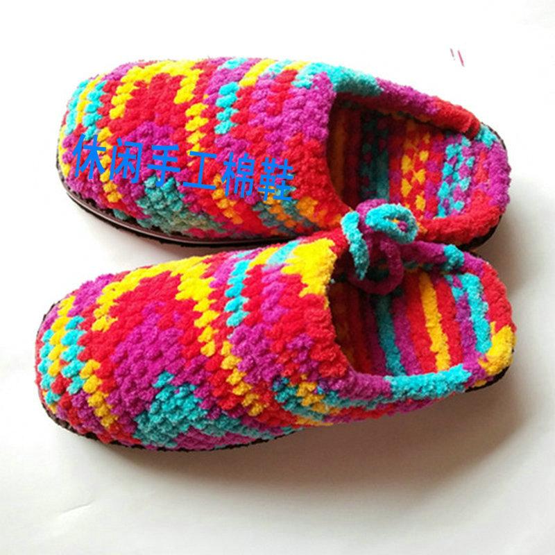 包邮 特价 双起 10 居家拖鞋 新款冰条线粗线勾拖鞋 纯手工毛线拖鞋