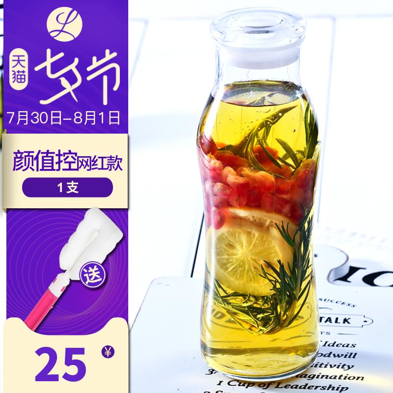 Libbey利比潮流瓶玻璃瓶飲料瓶冰橘瓶帶蓋透明水瓶創意隨身果汁瓶