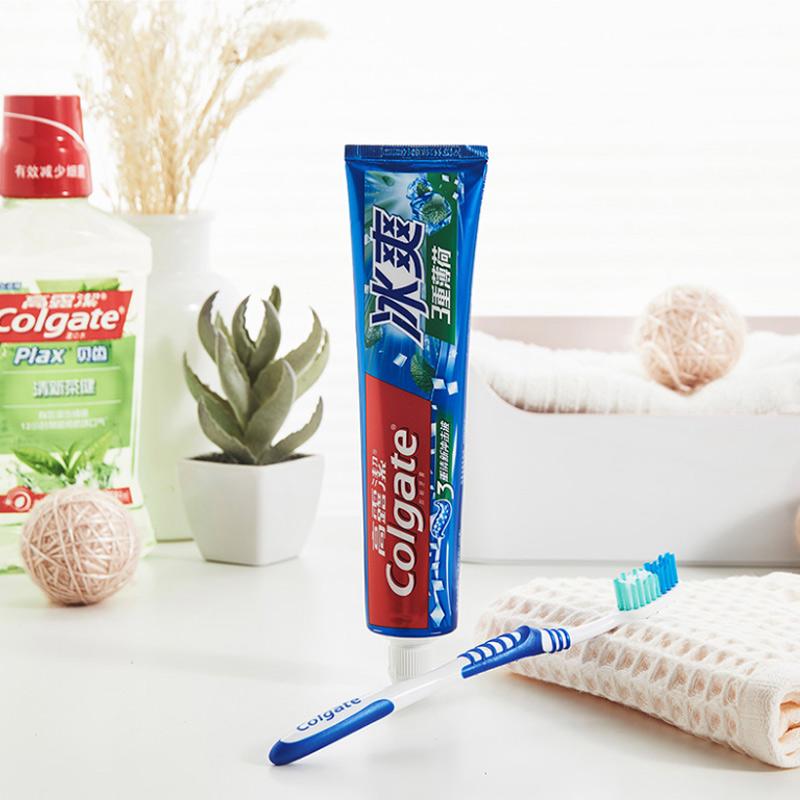 高露洁冰爽薄荷180gx3支牙膏口腔护理清洁 清新口气 冰爽三重薄荷