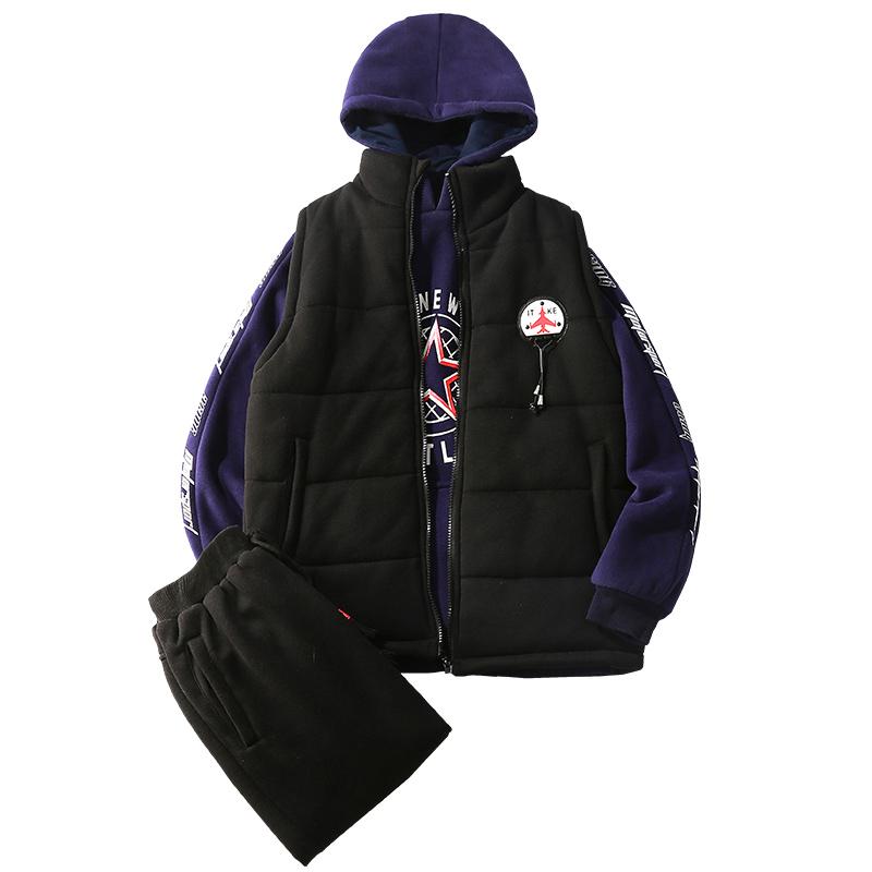 普哆衣男童套装2018新款韩版潮衣儿童加厚卫衣三件套冬