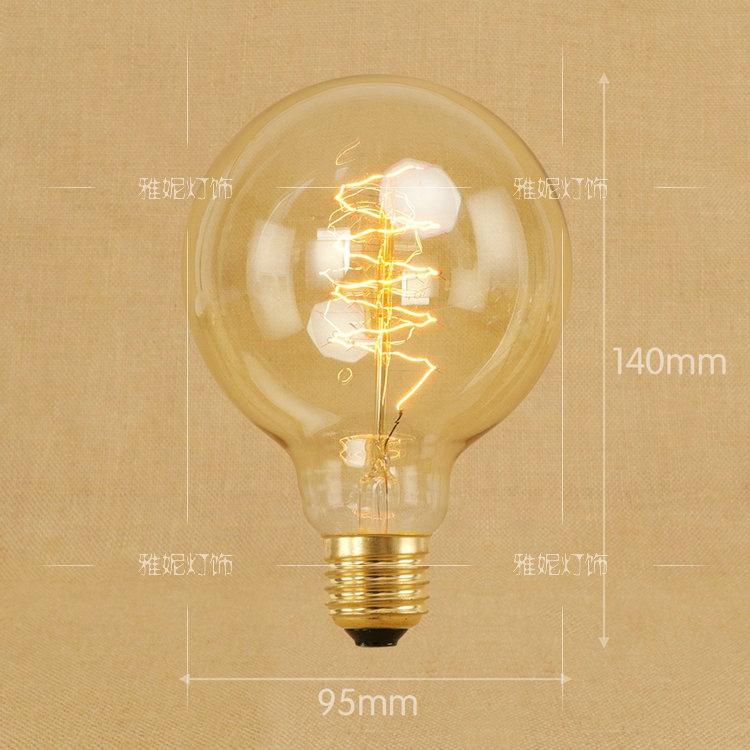 E27螺口钨丝光源复古创意艺术 40W 装饰白炽灯暖光黄光爱迪生灯泡