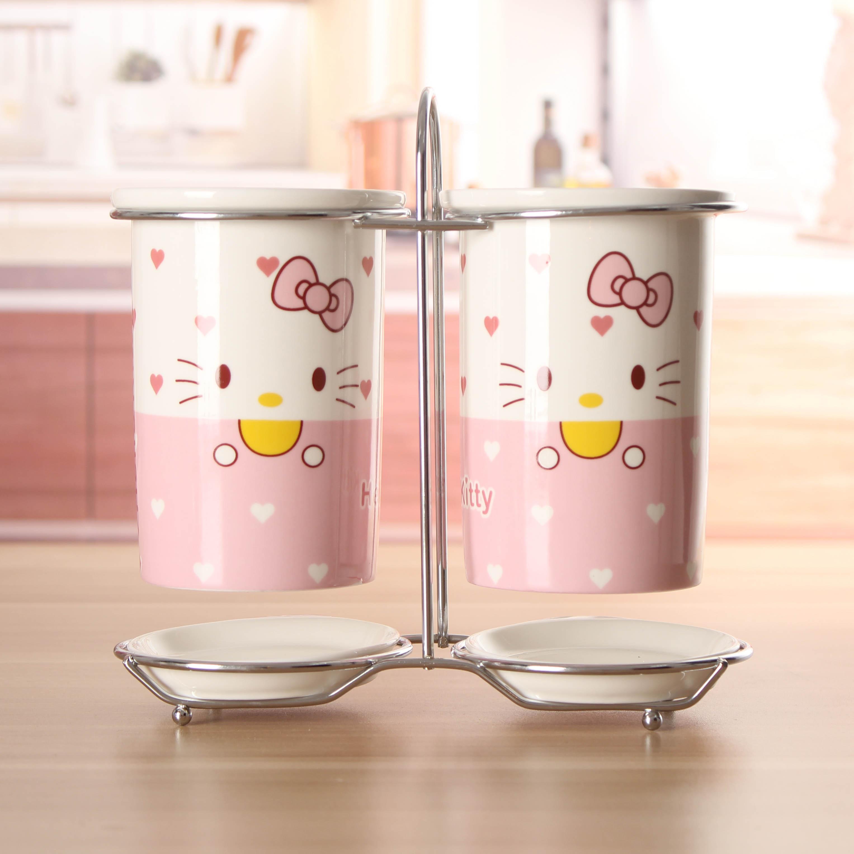 天天特價卡通hello Kitty陶瓷置架筒筷子筒籠掛筷盒雙筒筷架收納